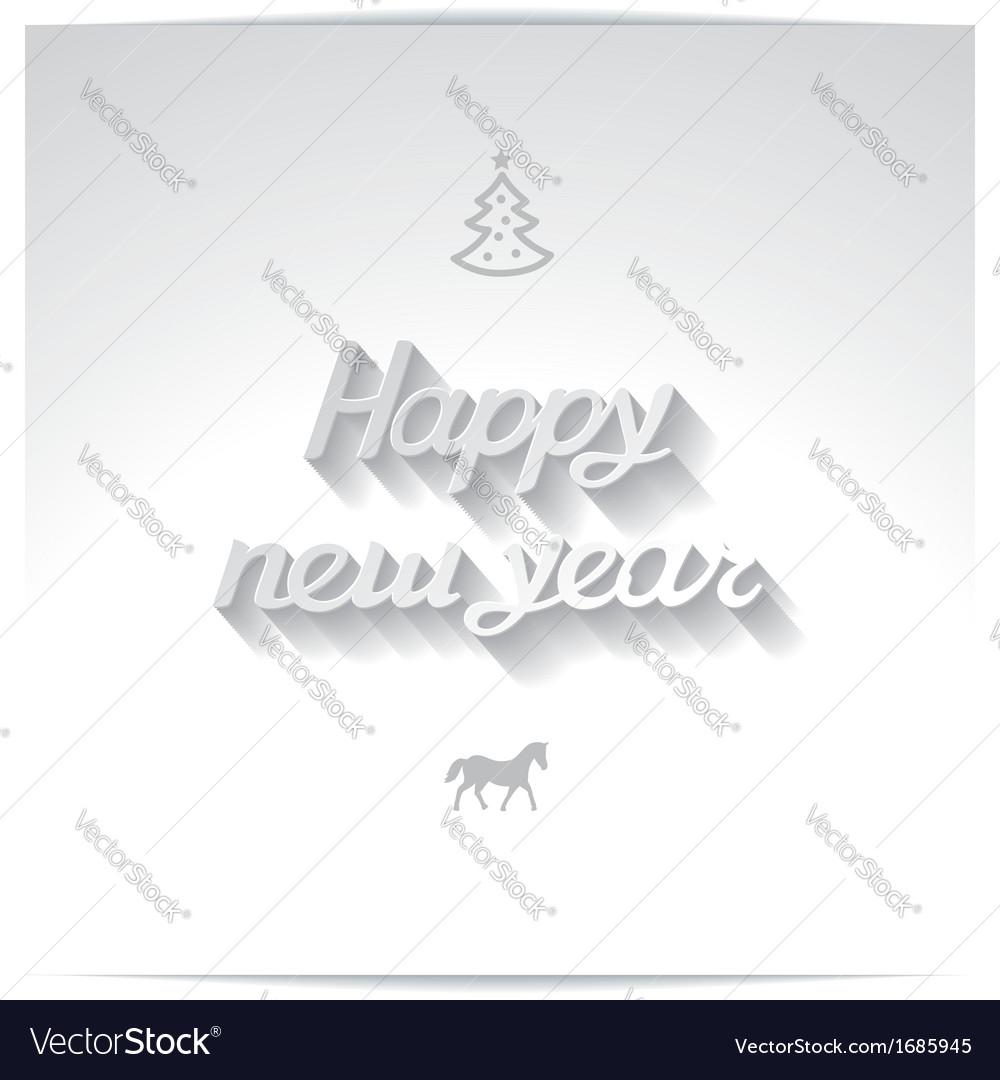 Happy new year white handwriting greetings vector