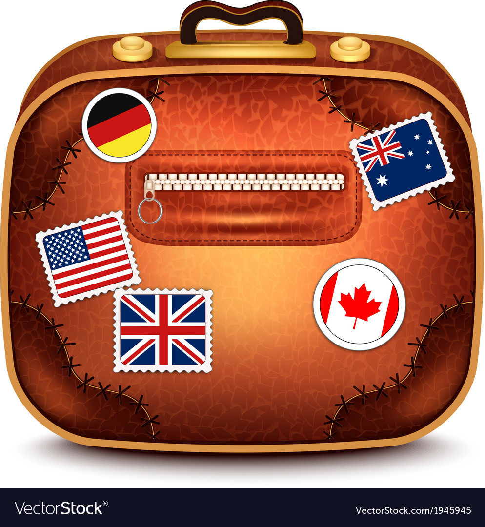 Suitcase with stamps vector