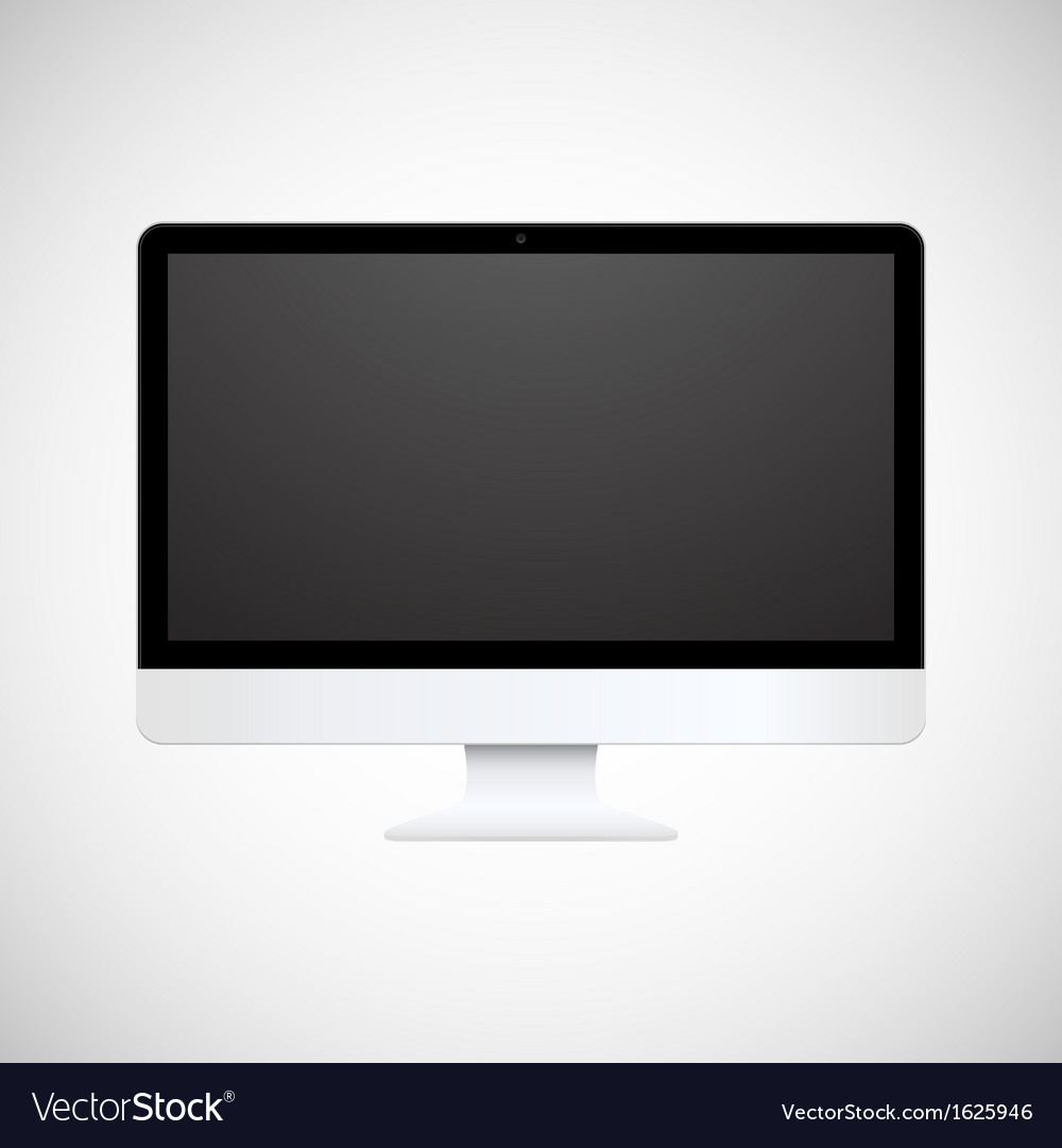 Isolated white computer display vector
