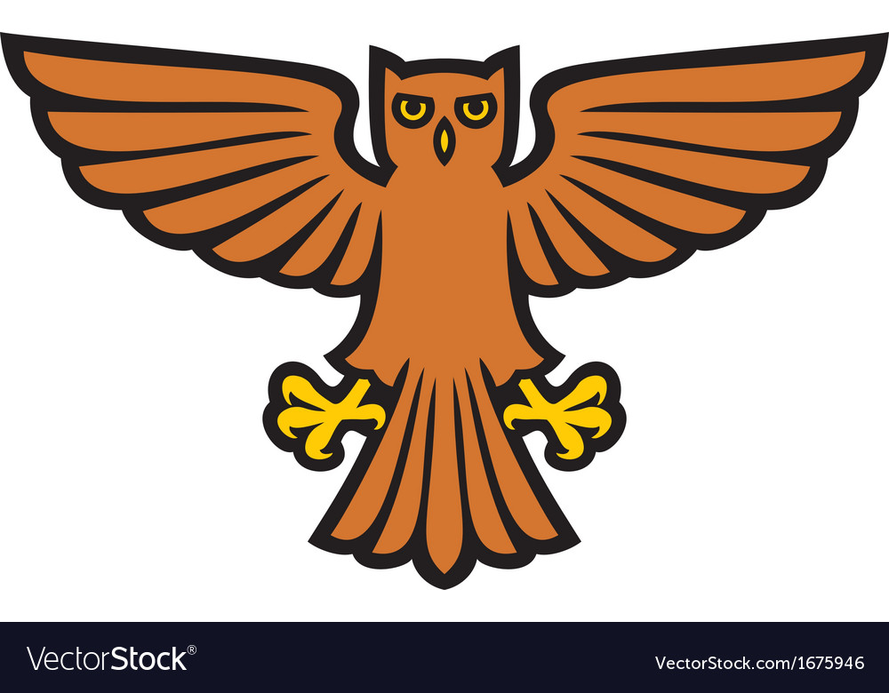 Owl with wings spread vector