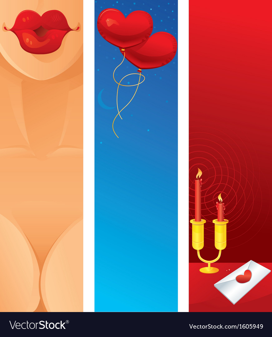 Romantic vertical web banner vector