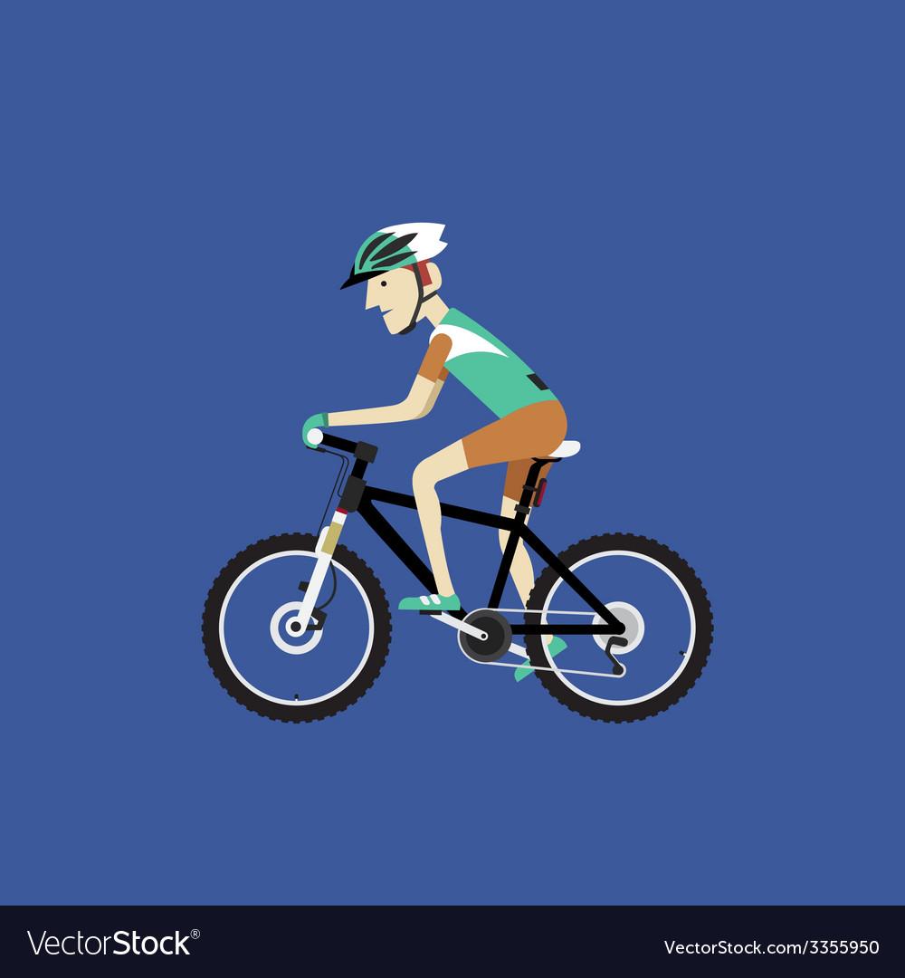 A biker riding a mountain bike vector