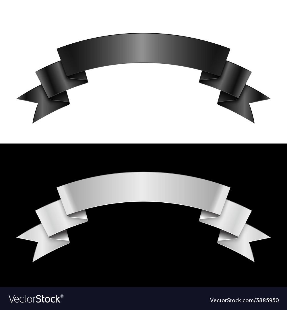 Black and white ribbon vector