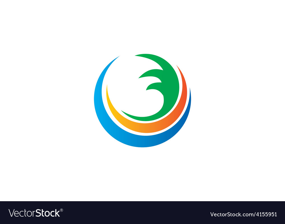 Water earth abstract circle swirl logo vector