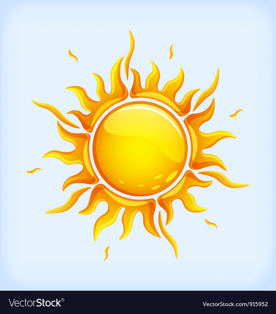 Bright yellow sun vector