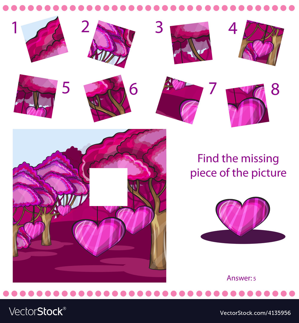 Find missing piece - puzzle game for children vector