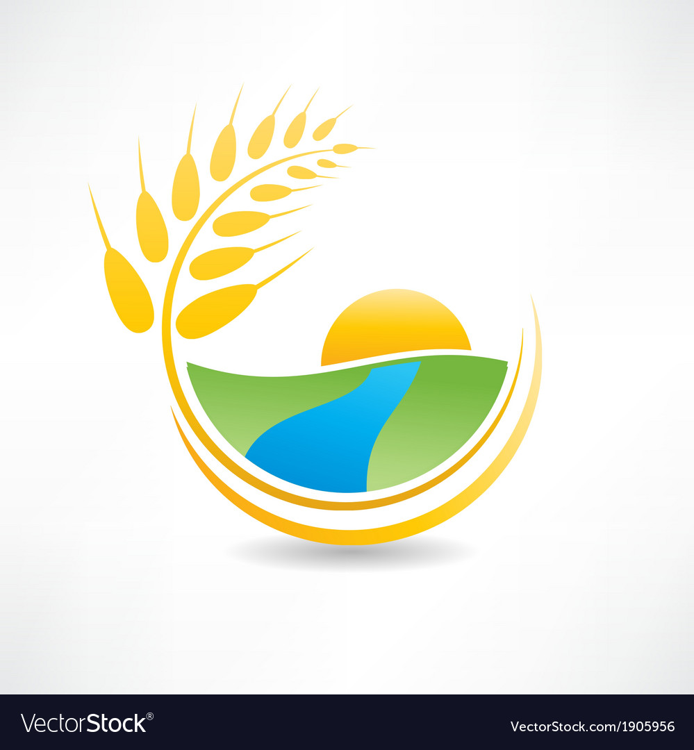Wheat field near the river icon vector