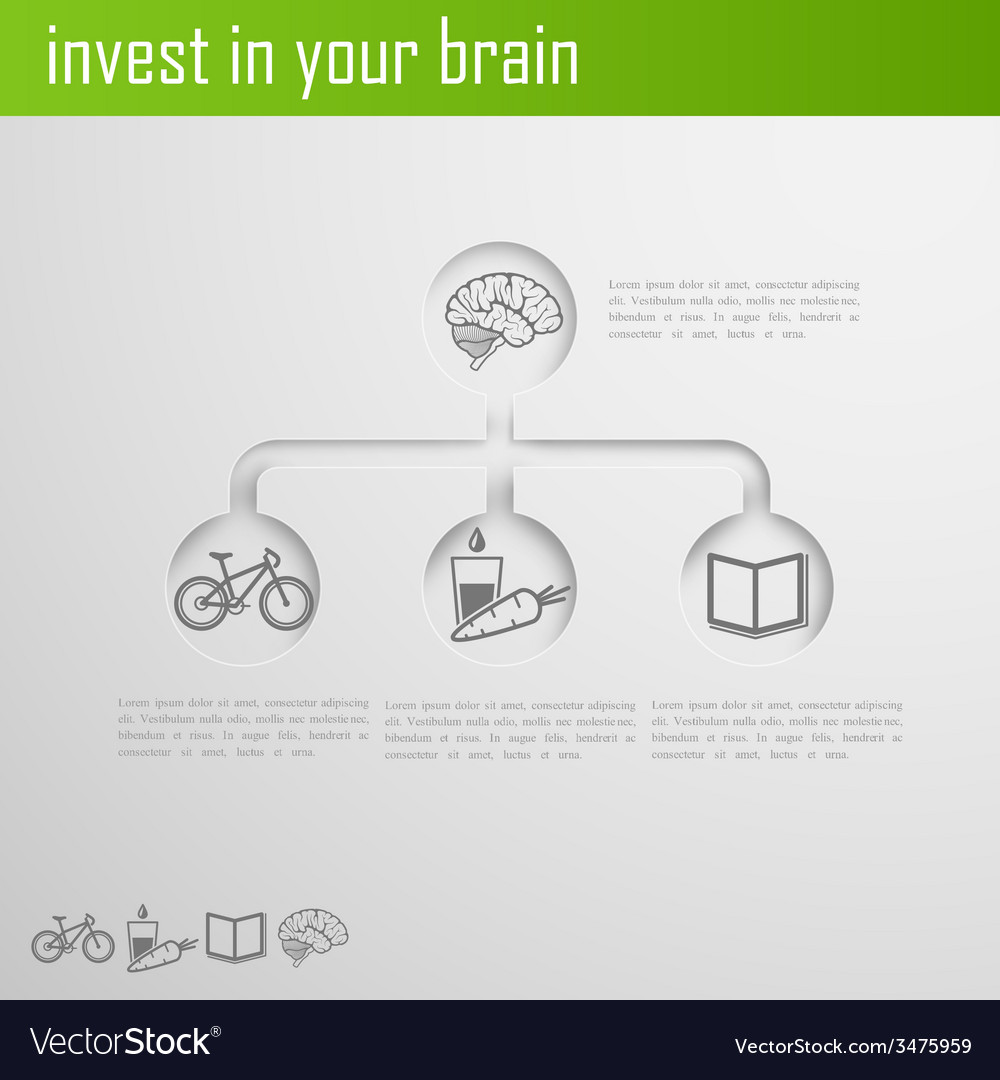 Invest in your brain infographic elements for web vector