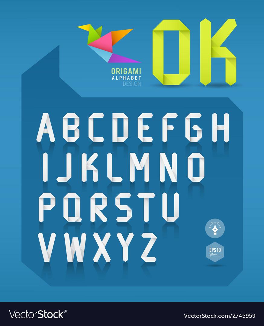 Paper origami alphabet letter design vector
