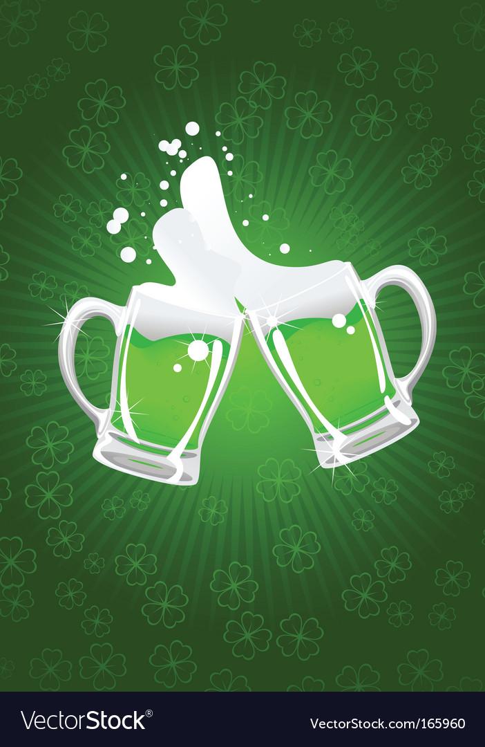 Two st patrick's beer mug vector