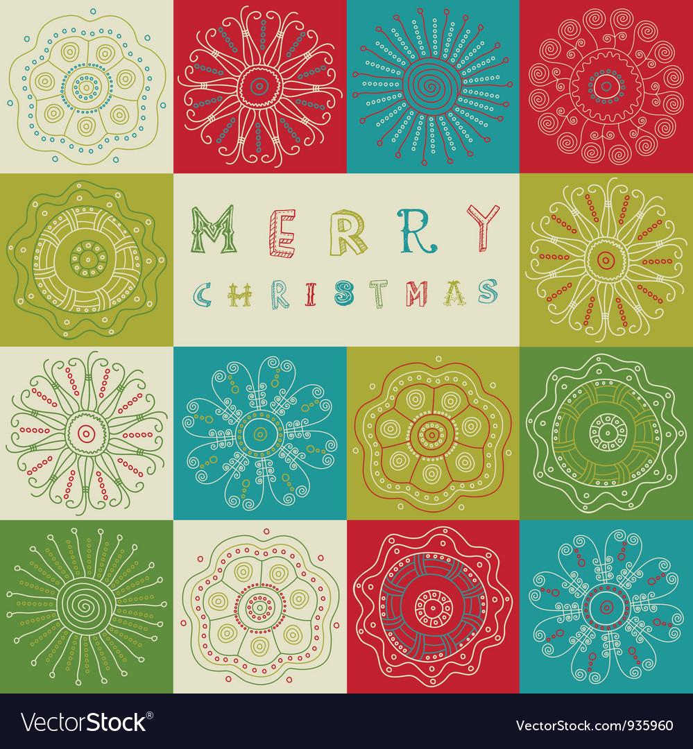 Vintage christmas card pattern vector