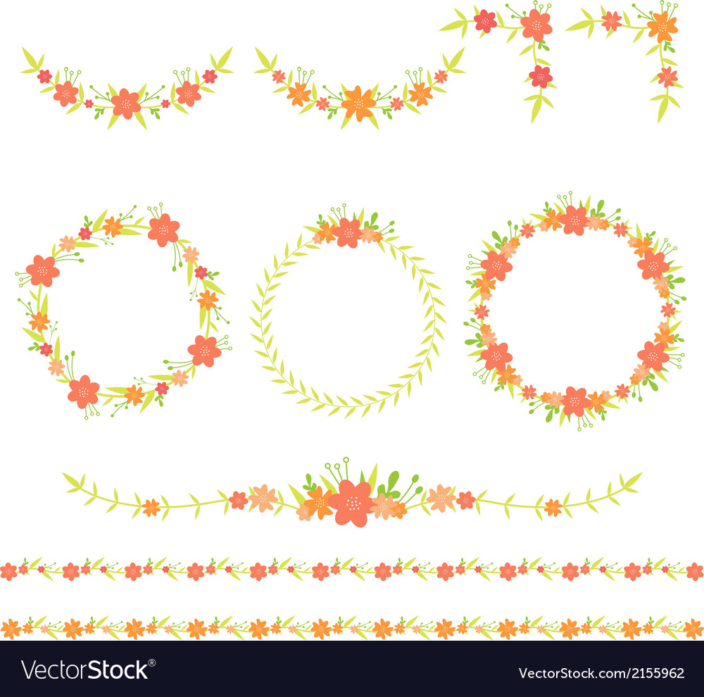 Flower wreath frame corner border vector