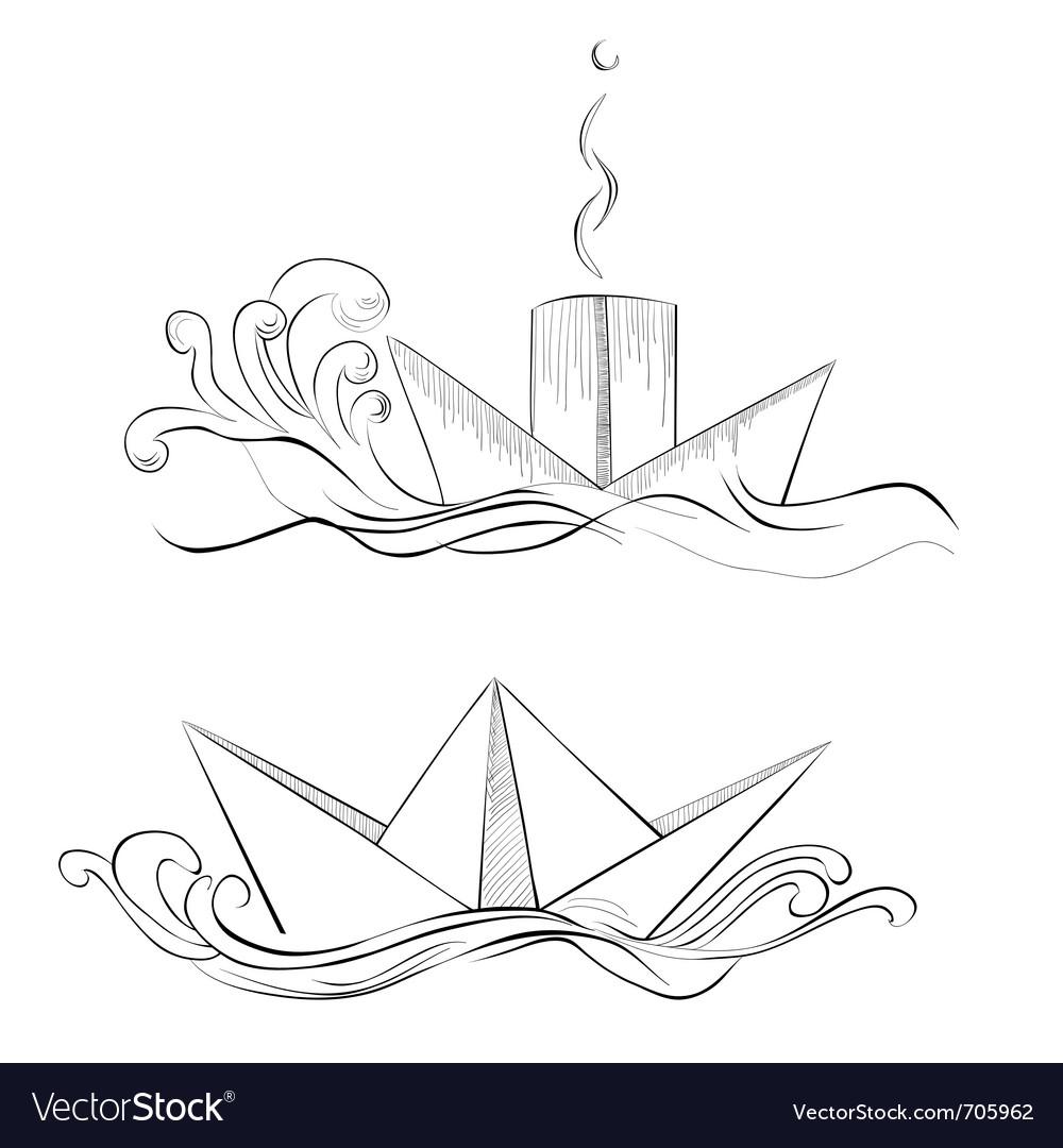 Sketch of hand drawn ship vector