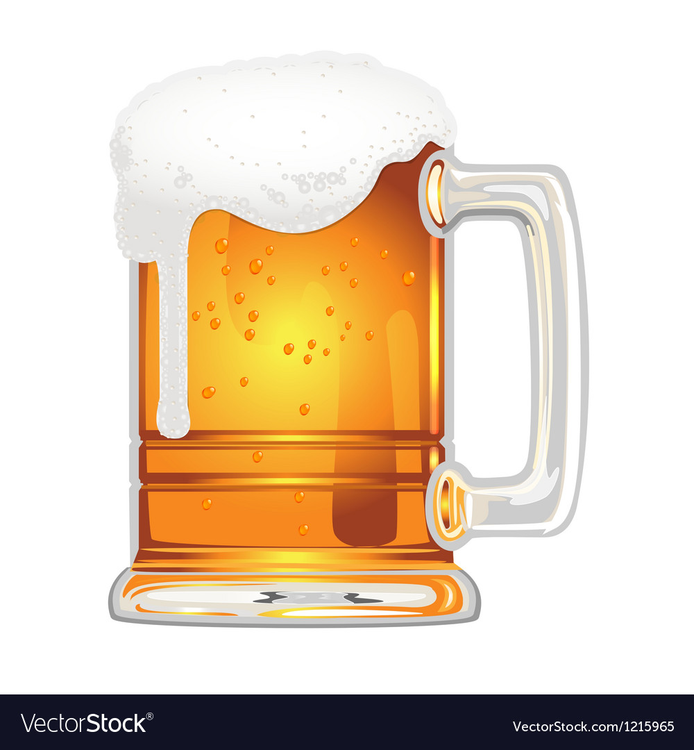 Beer with bladder in glass mug on white vector
