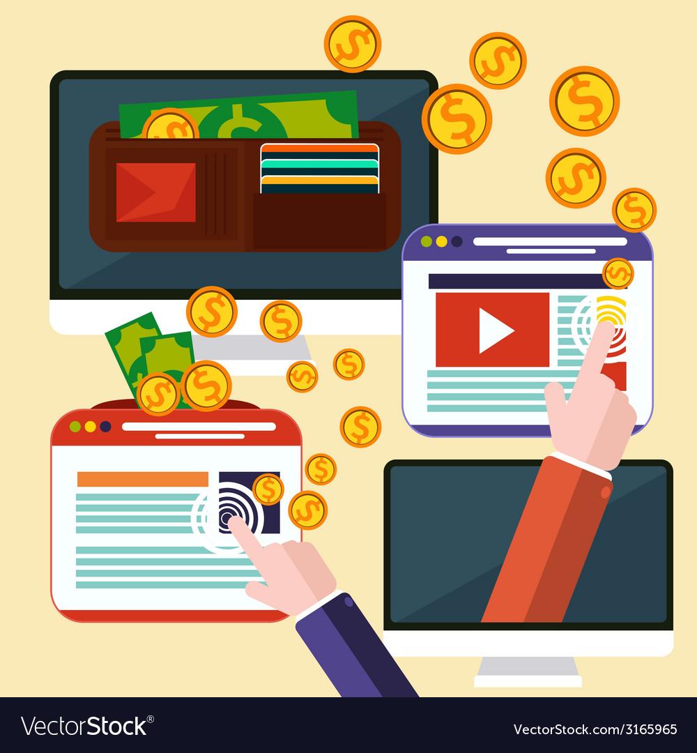 Pay per click internet advertising model vector