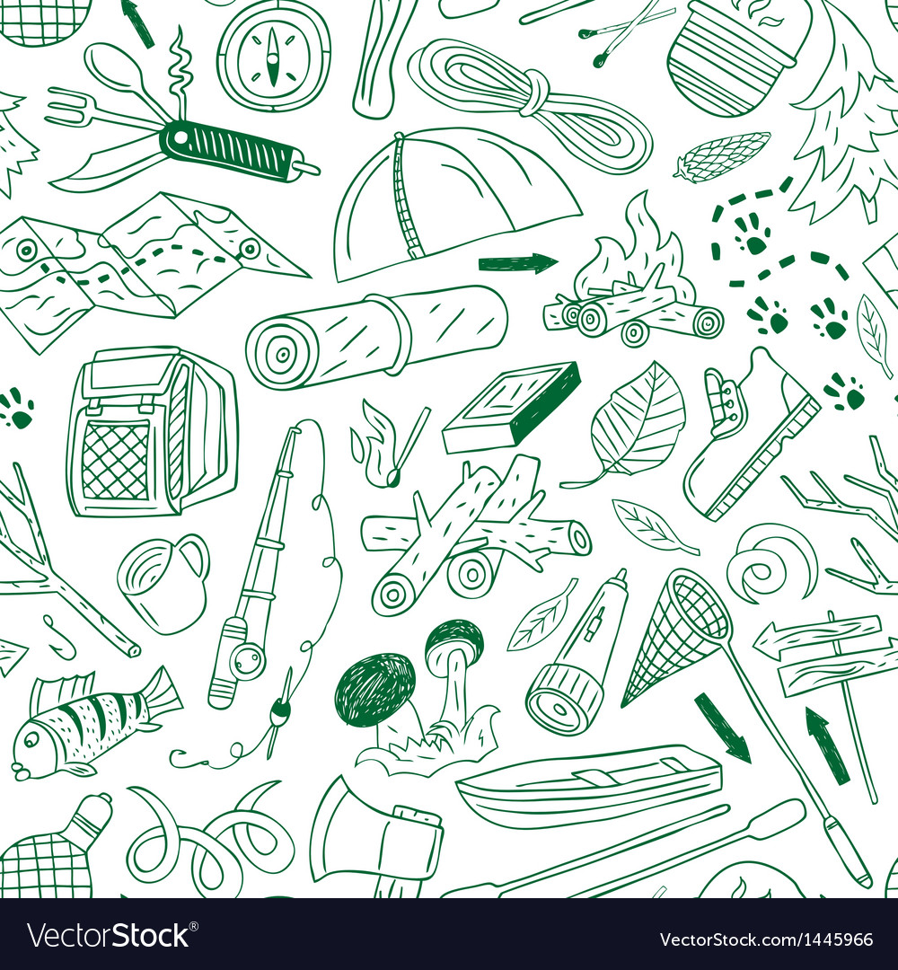 Camping - seamless background vector