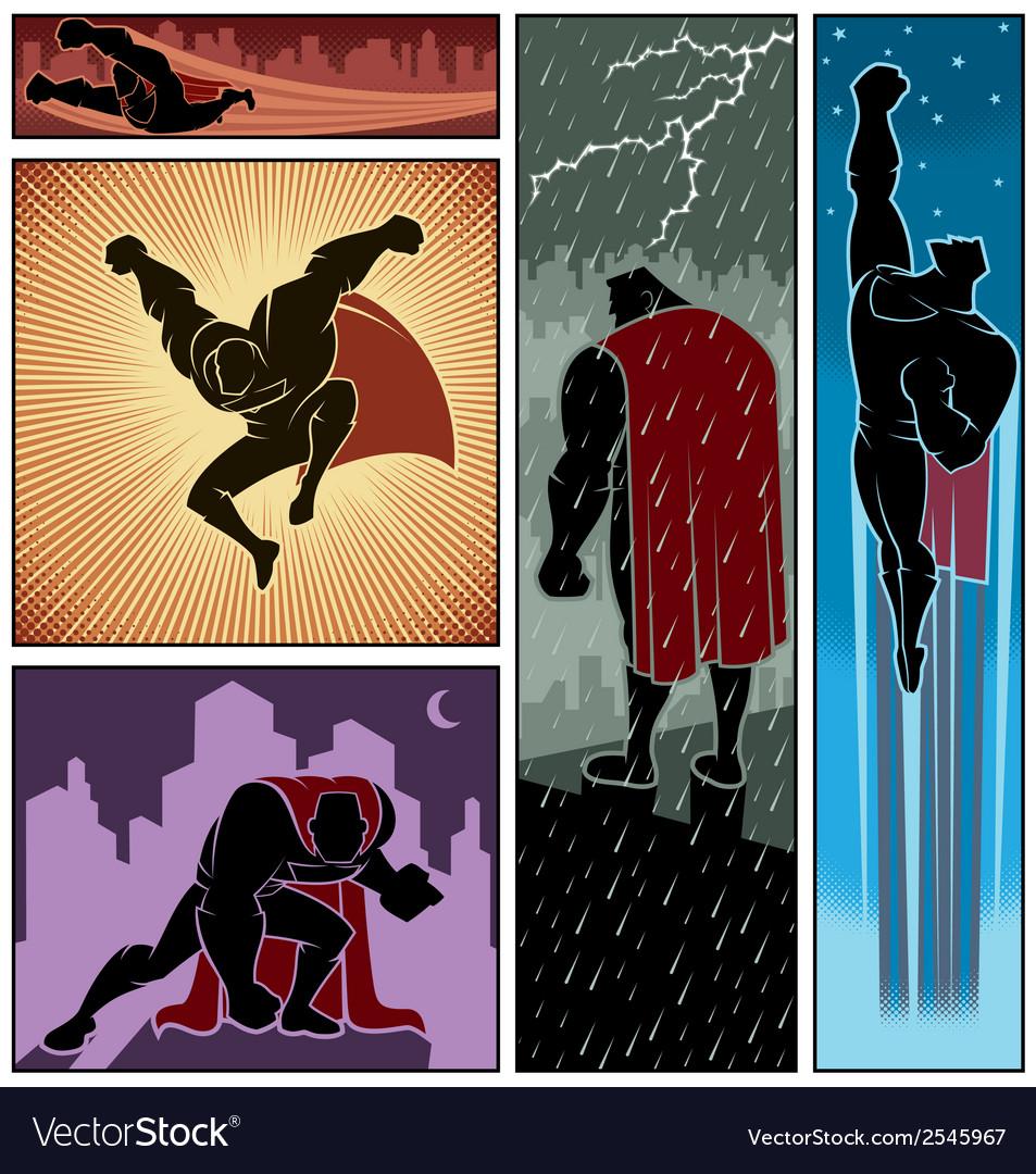 Superhero banners 3 vector