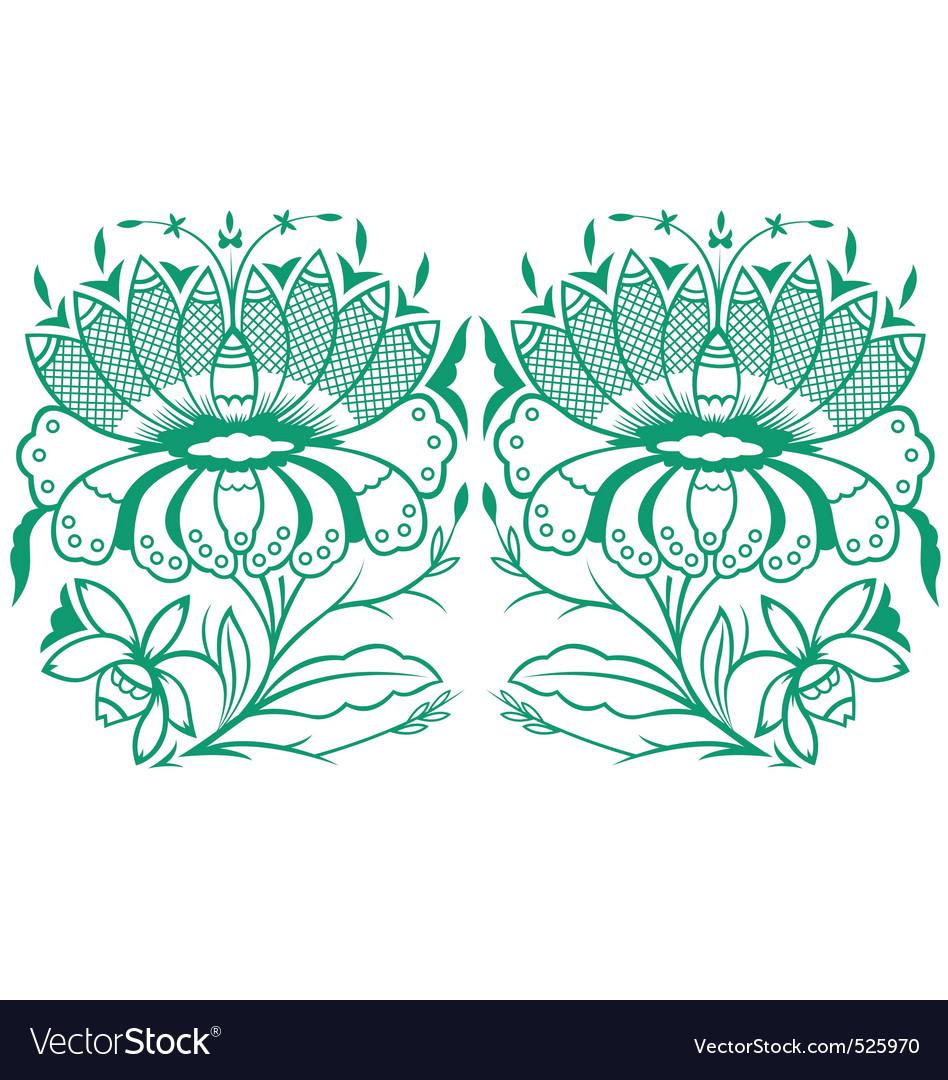 Classical oriental flower set vector