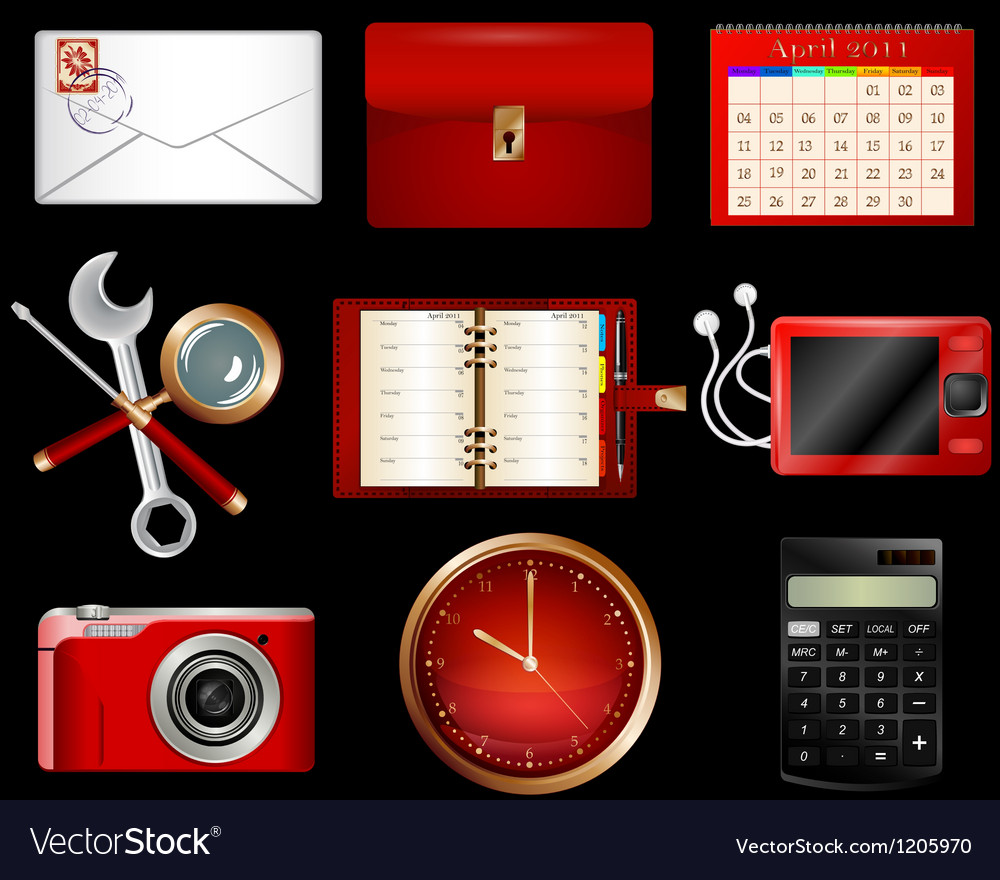 Collection of luxury icons vector