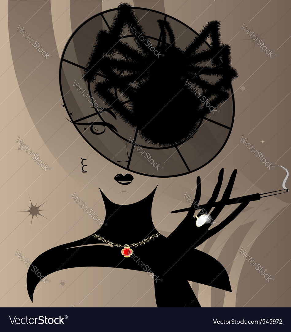 Lady and hatspider vector