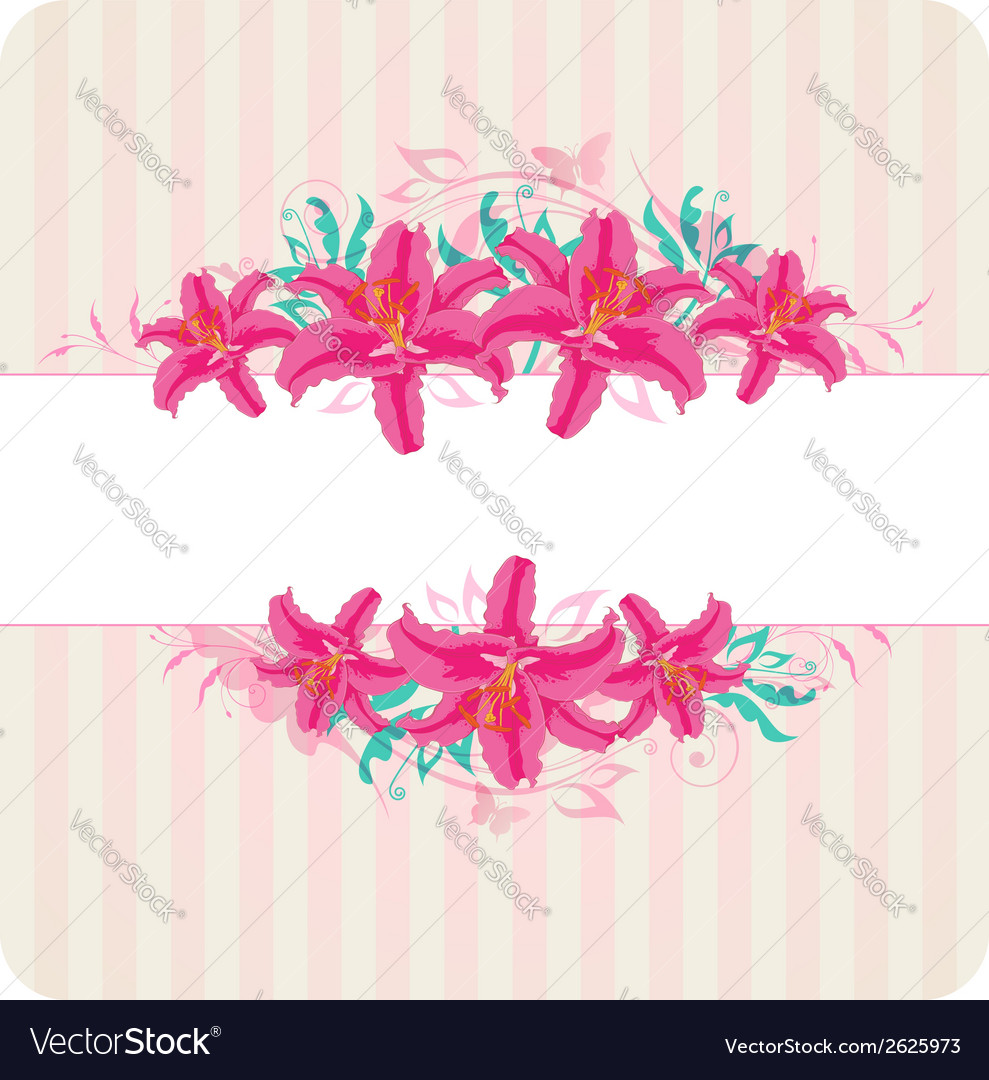 Decorative striped background with red flowers vector