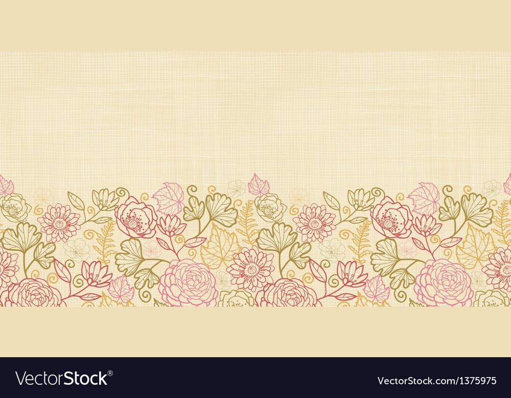 Textile flowers horizontal seamless pattern vector