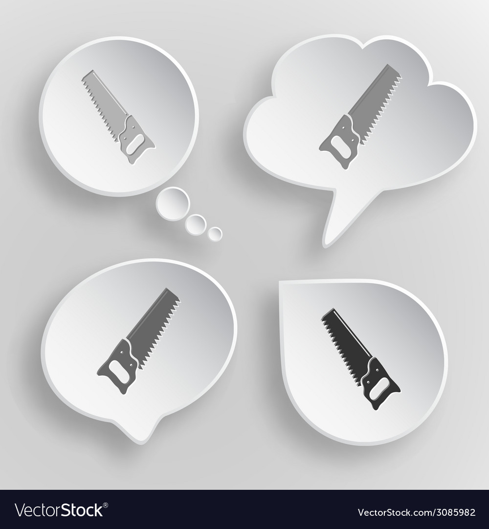Hand saw white flat buttons on gray background vector