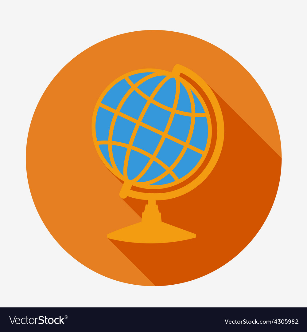 Single flat globe icon with long shadow education vector