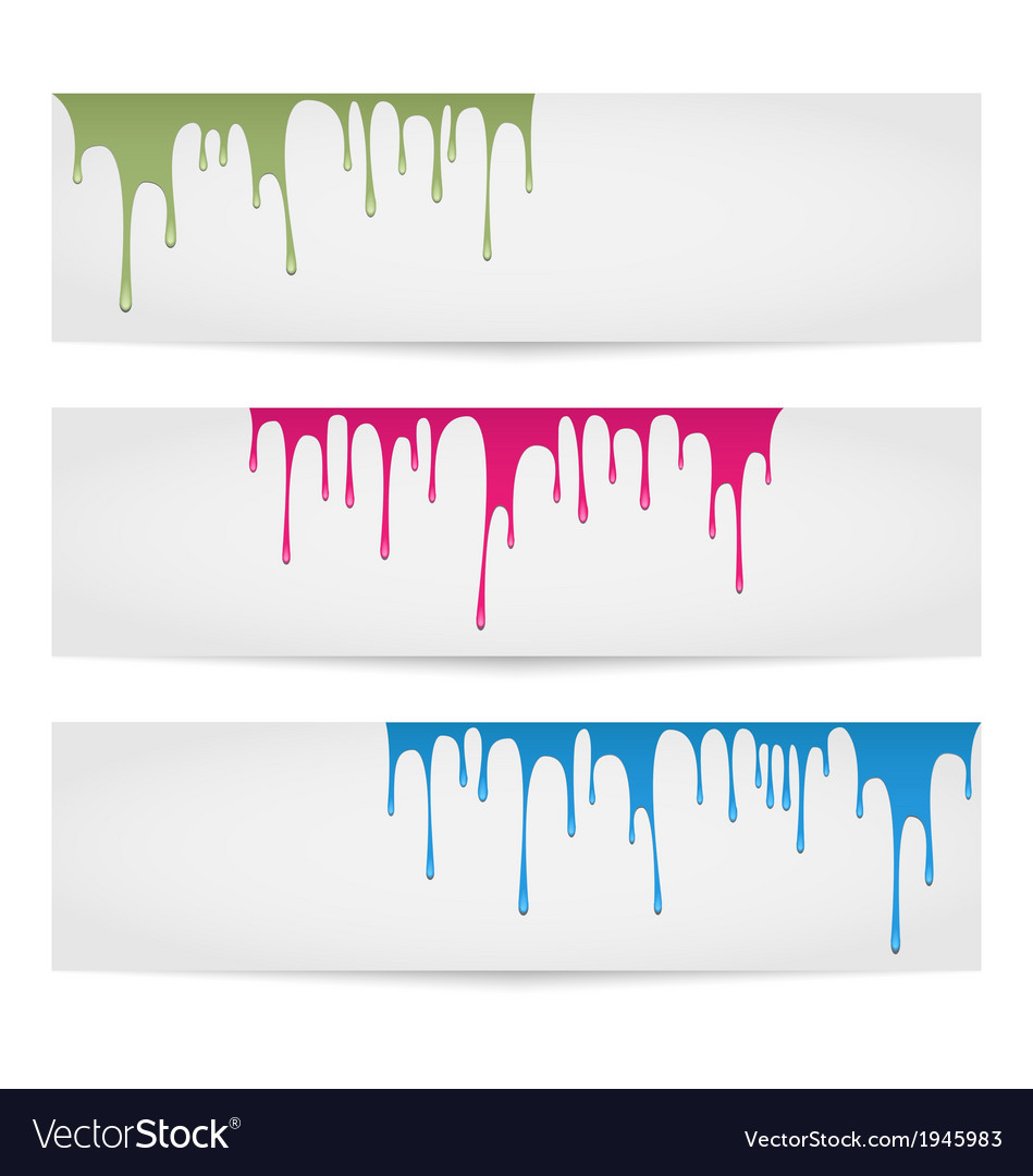 Melting paint banners vector