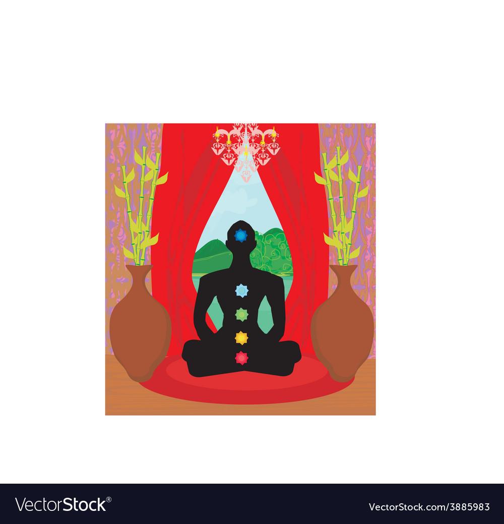 Men silhouette - chakra points vector