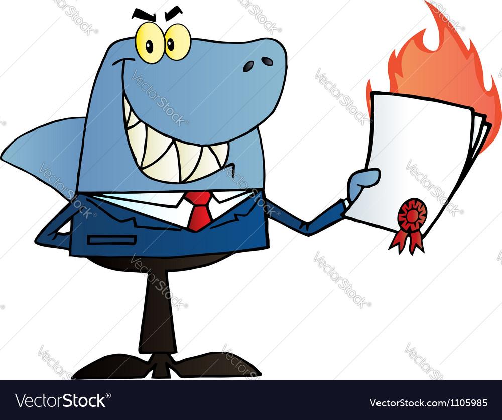 Shark salesman holding a bad contract vector