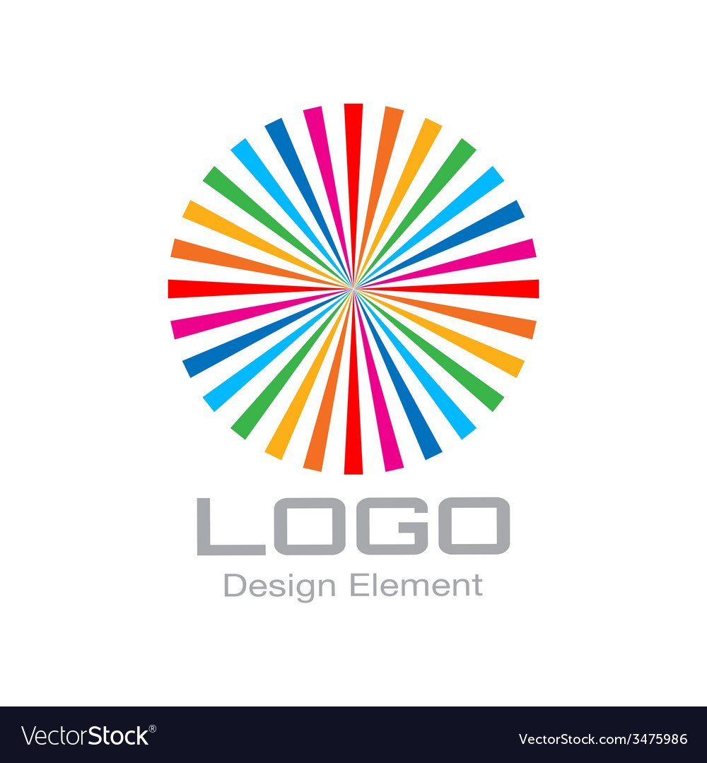 Colorful bright rainbow circle logo vector