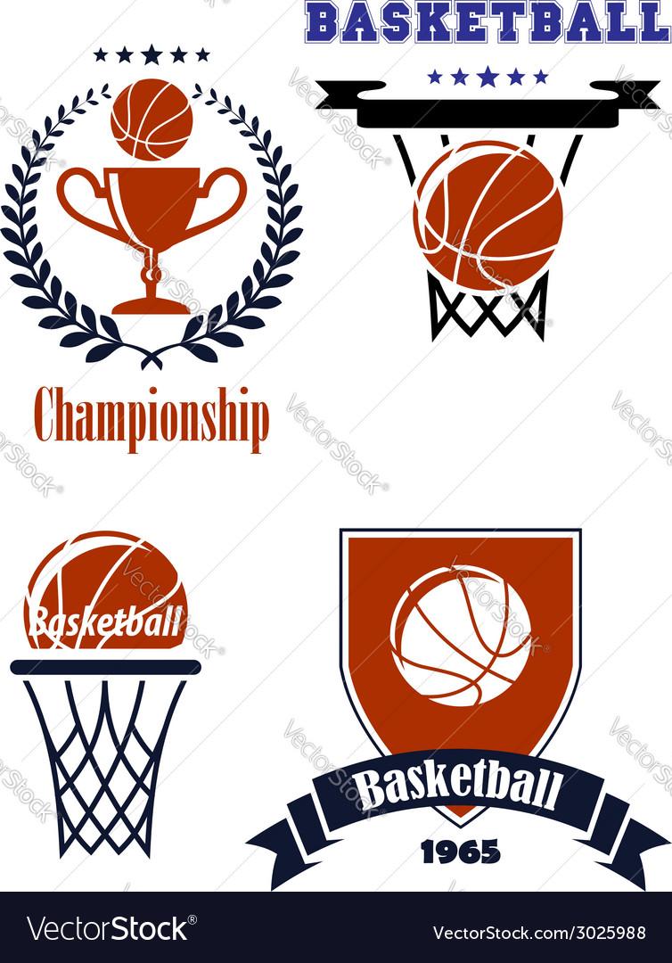 Basketball sporting symbols or logos vector