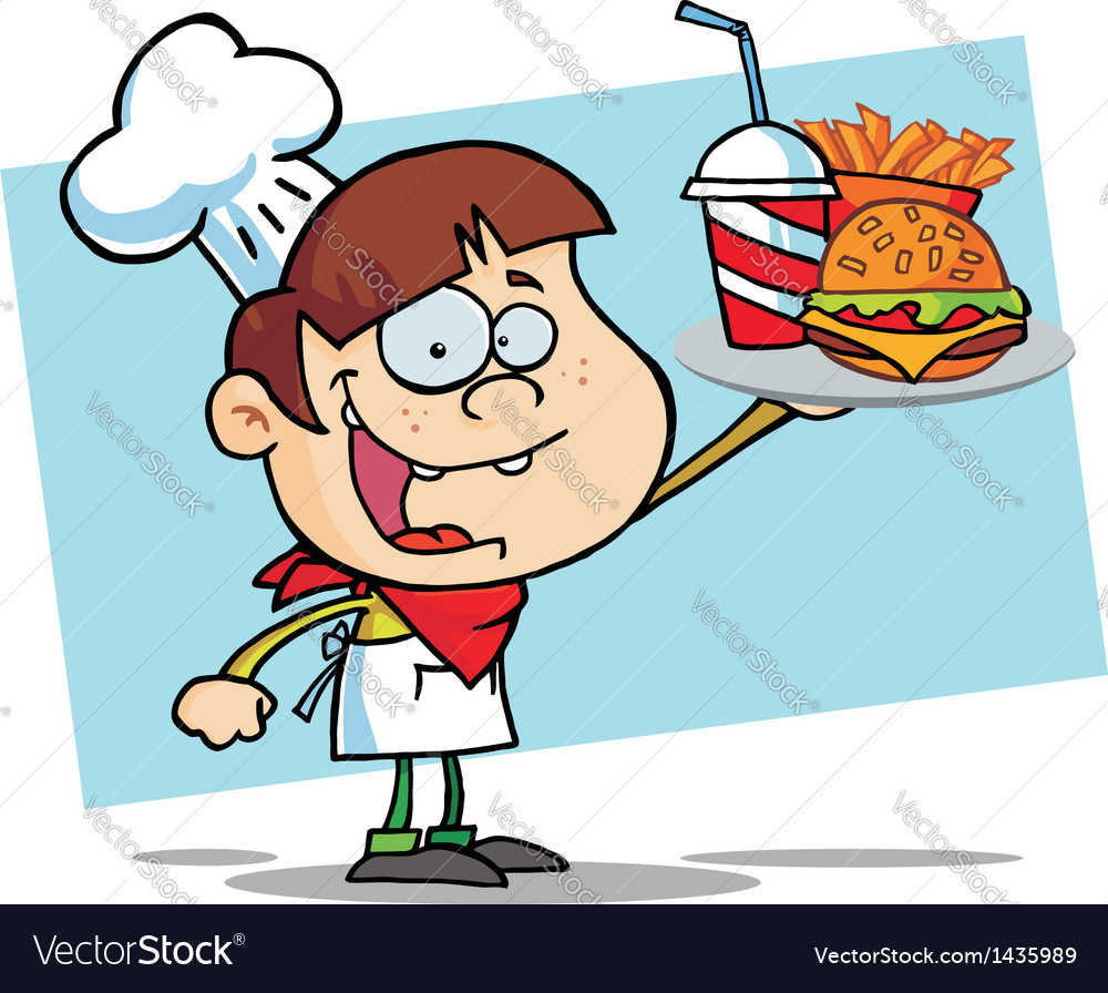 White burger boy holding up a cheeseburger vector