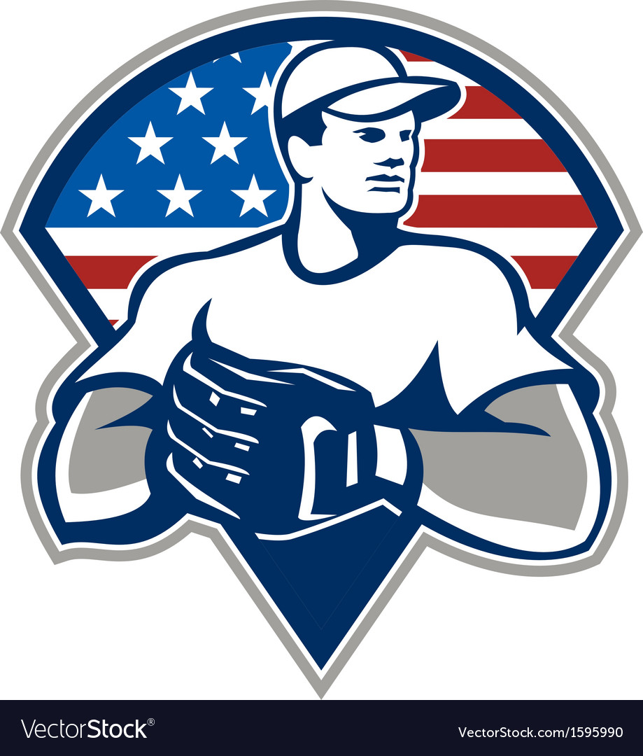 American baseball pitcher gloves retro vector