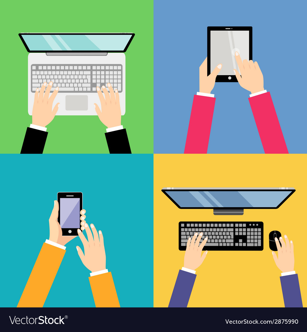 Business hands with gadgets vector