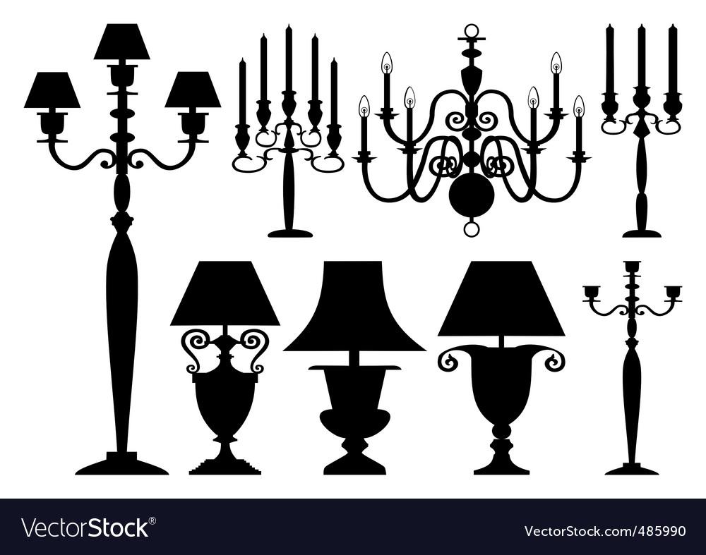 Set of antique lighting vector