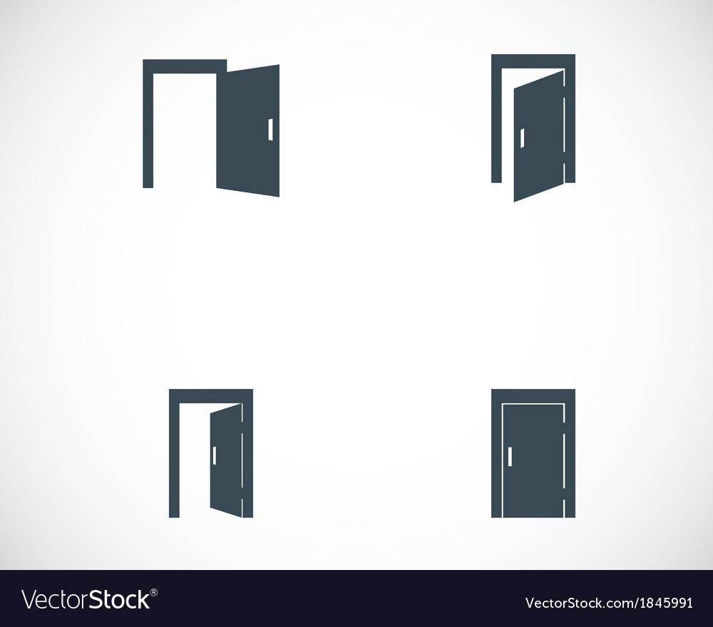 Black door icons set vector