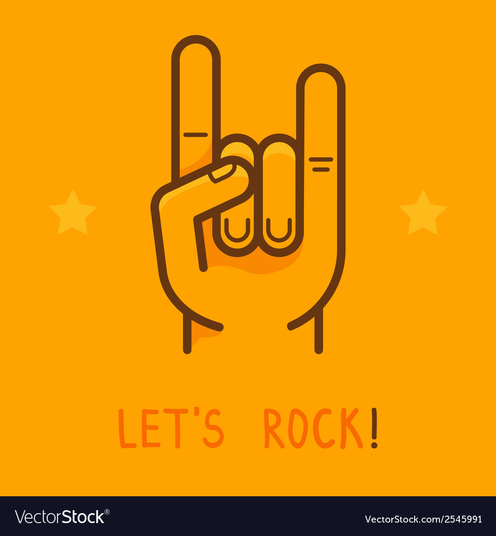 Lets rock banner in outline style vector