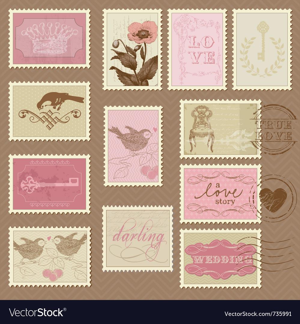 Retro postage stamps - for invite vector