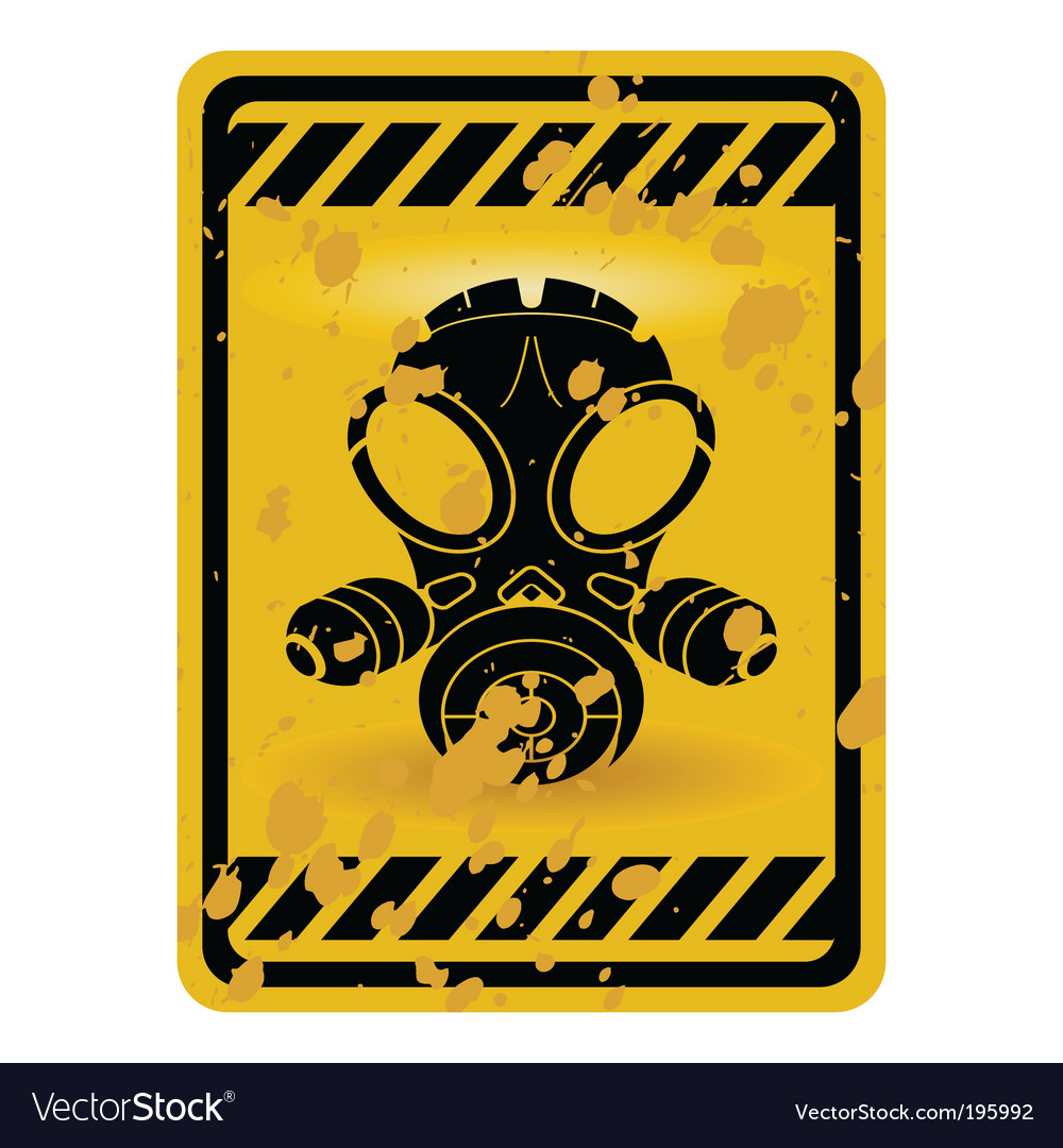 Gas mask warning sign vector