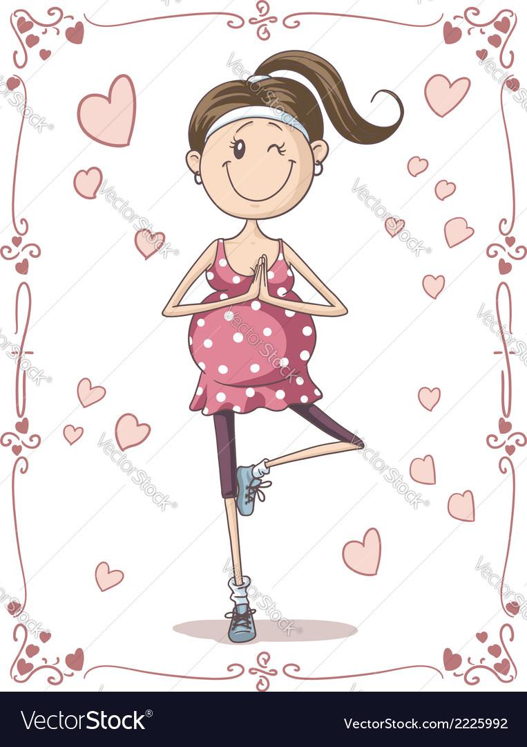 Pregnant exercise cartoon vector