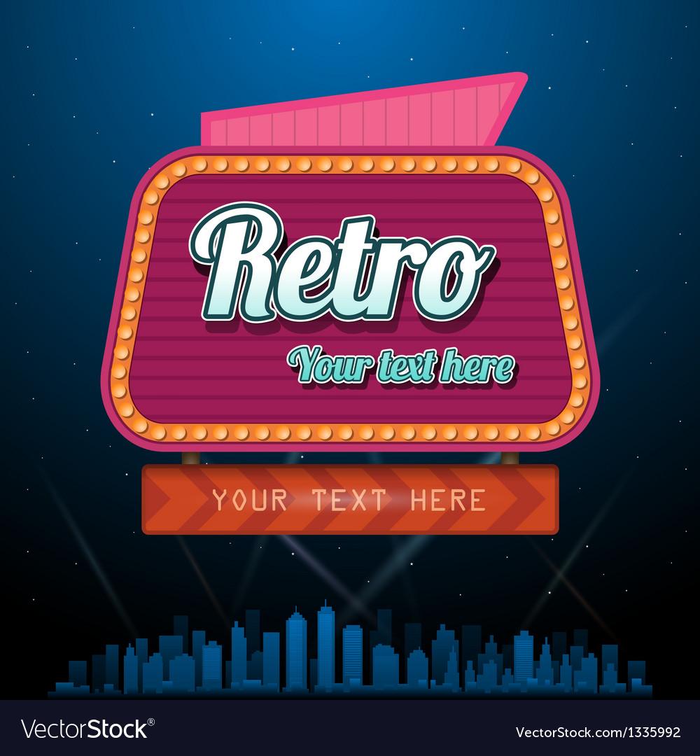 Retro motel sign with copyspace vector