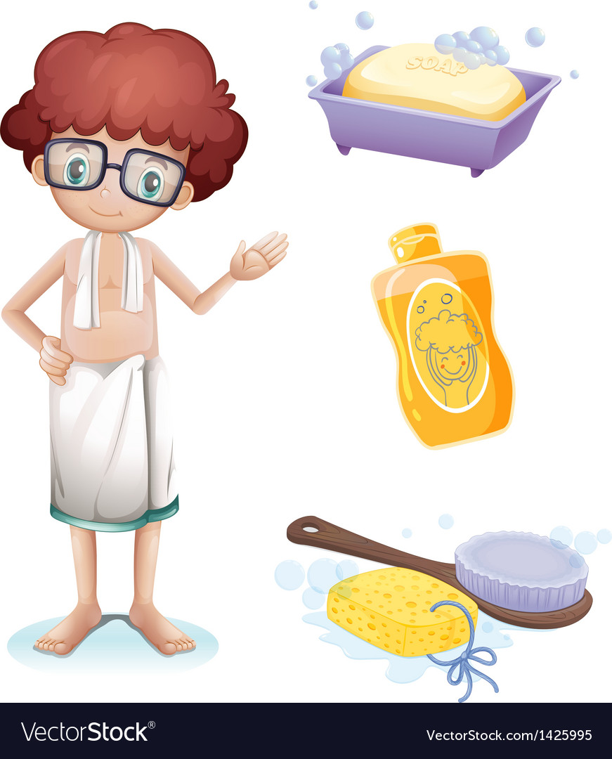 A boy with a soap shampoo brush and sponge vector