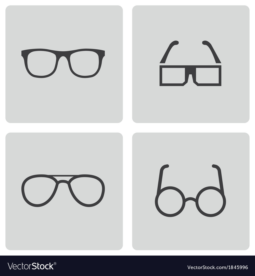 Black glasses icons set vector