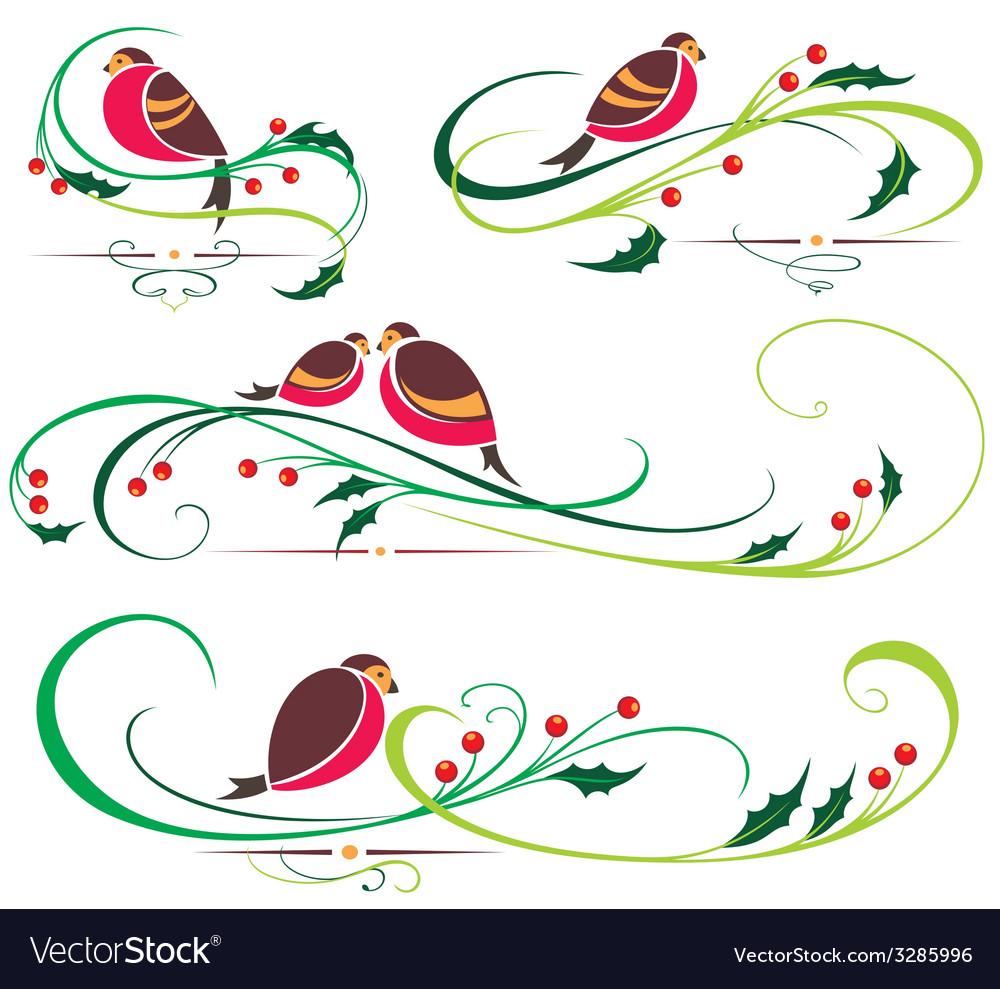 Bullfinch and christmas ornaments vector