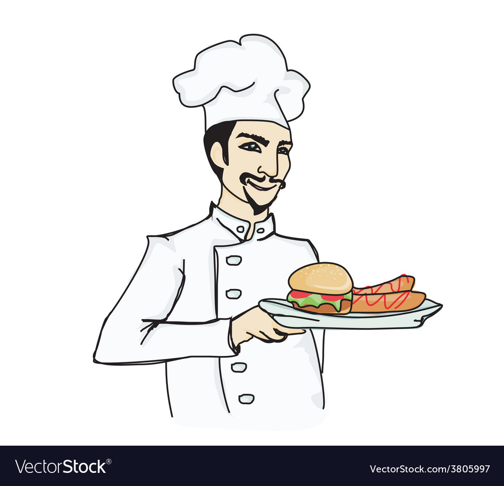 Chef cook with hamburger vector
