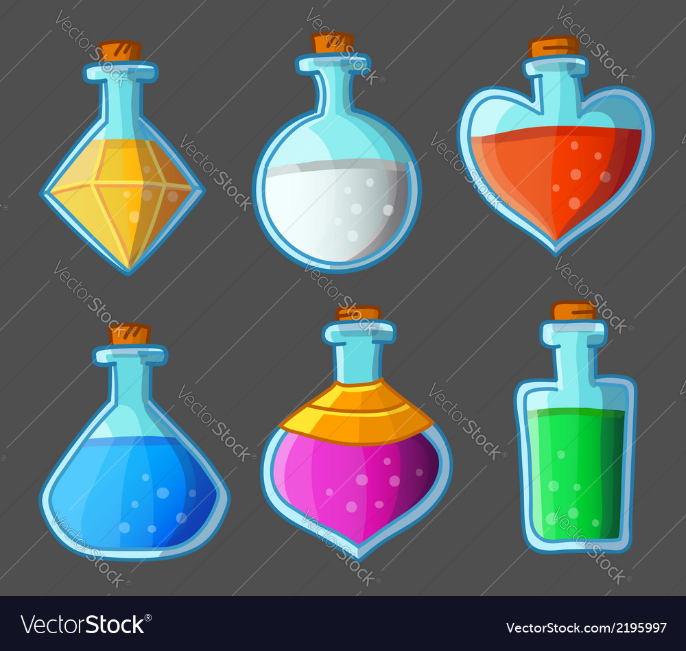 Collection of six magical bottles vector
