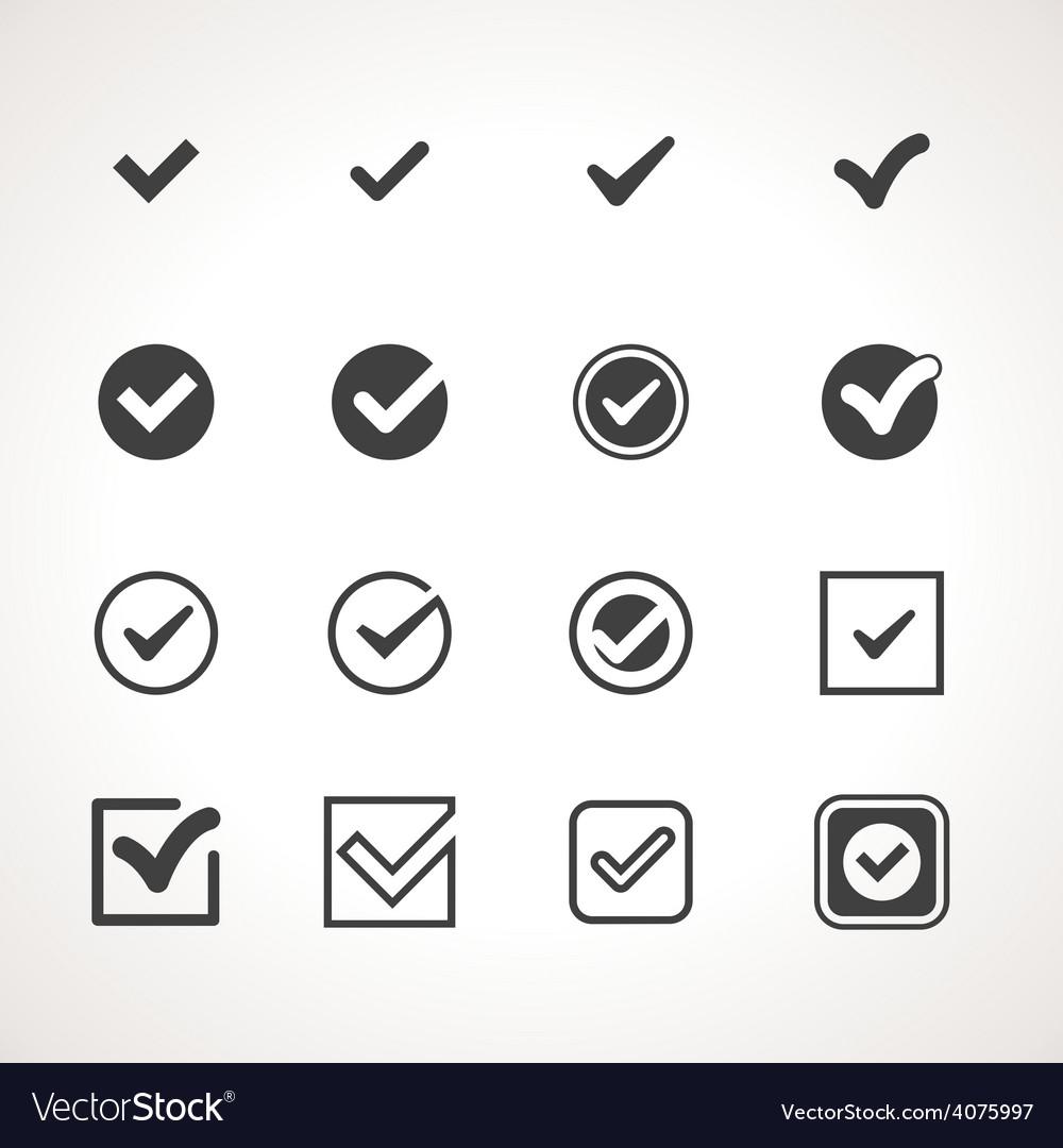 Tick check mark icon set vector