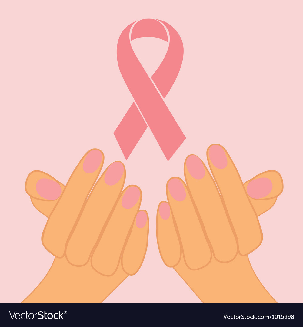 Pink ribbon in hands vector